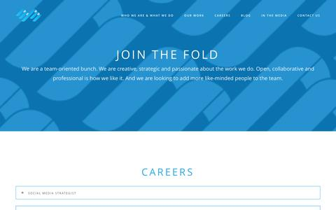 Screenshot of Jobs Page thr33fold.com - Careers - THR33FOLD Integrated Marketing Communications AgencyTHR33FOLD Integrated Marketing Communications Agency - captured Jan. 12, 2016