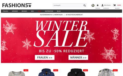 Screenshot of Home Page fashion5.de - Young Fashion Online Shop   FASHION5 - captured Jan. 19, 2016