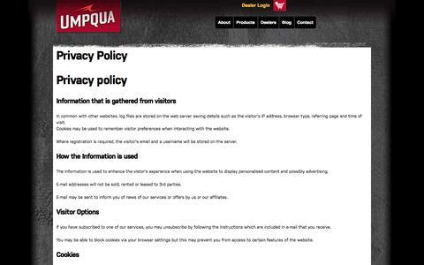 Screenshot of Privacy Page umpqua.com - Privacy Policy | Umpqua - captured Oct. 4, 2014