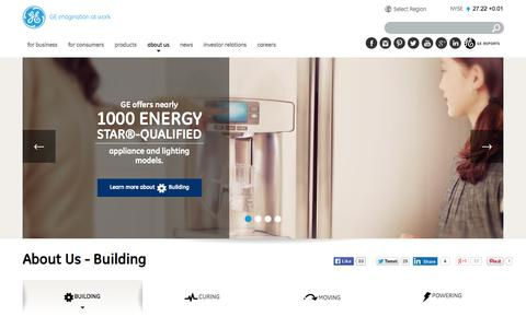 Screenshot of About Page ge.com - About Us - Building  | GE - captured June 16, 2015