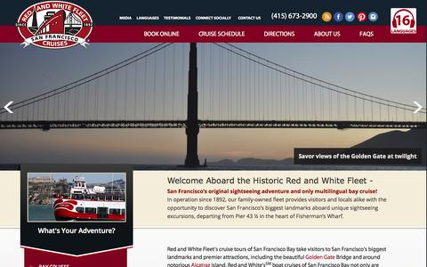 Screenshot of Home Page redandwhite.com - San Francisco Bay Boat Tours & Sightseeing  Red and White Fleet Cruises - captured Oct. 9, 2014
