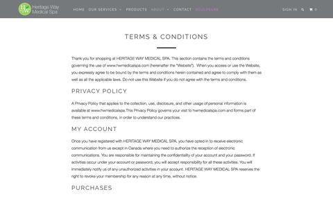 Screenshot of Terms Page hwmedicalspa.com - Terms & Conditions - HW Medical Spa - captured Aug. 4, 2017