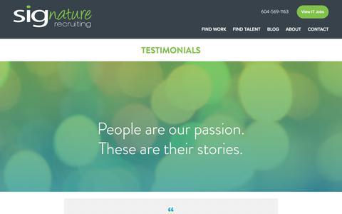 Screenshot of Testimonials Page sigrecruiting.com - Testimonials | SIGnature Recruiting - captured July 6, 2017