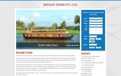 Screenshot of Home Page beckontours.com - Beckon Tours - captured Oct. 5, 2014