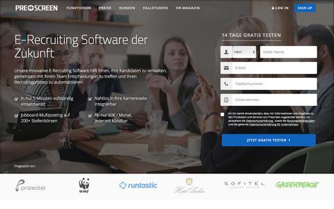 Screenshot of Signup Page prescreen.io - E-Recruiting Software der Zukunft   Prescreen   Prescreen.io - captured July 10, 2018
