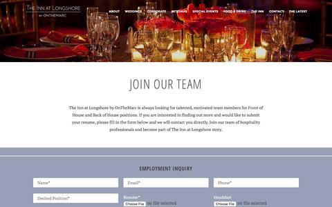 Screenshot of Jobs Page innatlongshore.com - Join Our Team - The Inn at Longshore - captured Feb. 28, 2016