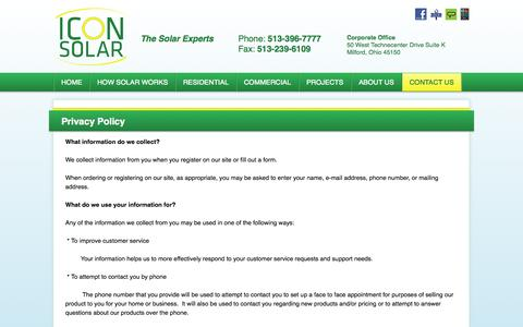 Screenshot of Privacy Page iconsolar.com - Privacy Policy - captured Oct. 6, 2014
