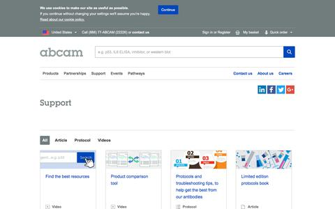 Screenshot of Support Page abcam.com - Support Information   Abcam - captured June 26, 2018