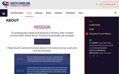 Screenshot of About Page scchamber.net - About | South Carolina Chamber of Commerce - captured Dec. 1, 2016