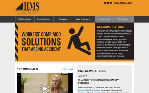 Screenshot of Home Page hmssolutions.com - Ohio MCO :: Health Management Solutions - captured Oct. 2, 2014