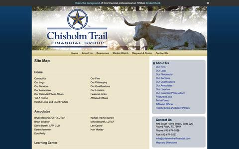 Screenshot of Site Map Page chisholmtrailfinancial.com - Site Map : Chisholm Trail Financial Group - captured Nov. 5, 2016