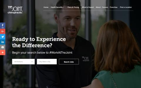 Screenshot of Jobs Page thejoint.com - Career Opportunities | The Joint Chiropractic - captured May 24, 2018