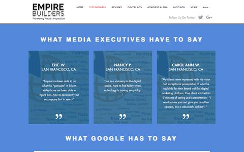 Screenshot of Testimonials Page paidsearch.co - Empire Builders Testimonials | Eau Claire WI | San Francisco, CA - captured Jan. 1, 2018