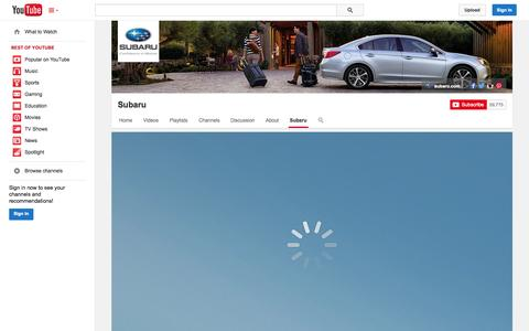 Screenshot of YouTube Page youtube.com - Subaru  - YouTube - captured Oct. 23, 2014