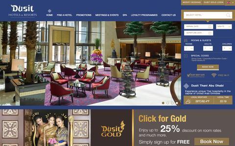 Screenshot of Home Page dusit.com - Dusit Hotels & Resorts - captured Oct. 2, 2015
