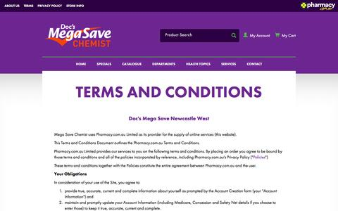 Screenshot of Terms Page docsmegasavechemist.com.au - Doc's Mega Save Chemist Newcastle West - captured Aug. 2, 2016