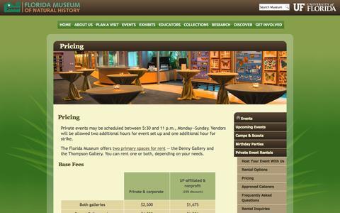 Screenshot of Pricing Page ufl.edu - Pricing :: Florida Museum of Natural History - captured Sept. 13, 2014