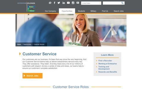 Screenshot of Support Page enterpriseholdings.com - Enterprise Holdings Careers - Customer Service - captured Dec. 25, 2016