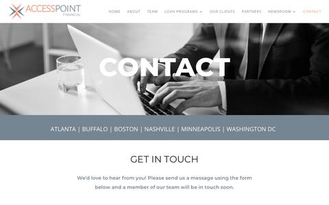 Screenshot of Contact Page accesspointfinancial.com - Contact - Access Point Financial - captured Feb. 17, 2020