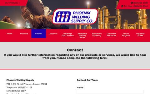 Screenshot of Contact Page phxwelding.com - Contact Phoenix Welding Supply, Phoenix, Arizona. You have questions, we have answers. - captured Nov. 6, 2016