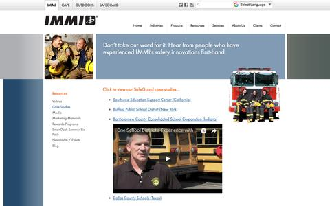 Screenshot of Case Studies Page imminet.com - Case Studies - IMMI - captured Sept. 30, 2017
