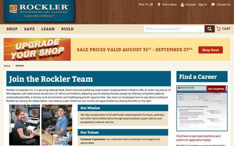 Screenshot of Jobs Page rockler.com - Careers - captured Sept. 21, 2018