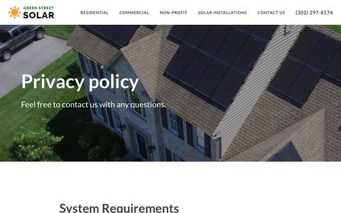 Screenshot of Privacy Page greenstreetsolar.com - Privacy policy | Green Street Solar - captured July 23, 2018