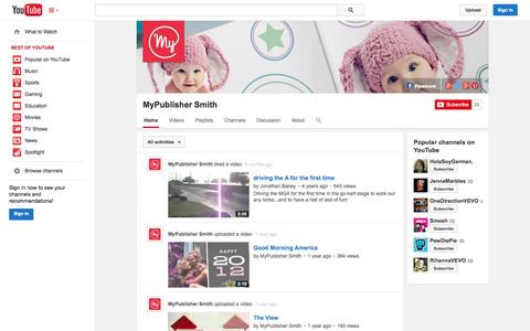 Screenshot of YouTube Page youtube.com - MyPublisher Smith  - YouTube - captured Oct. 22, 2014