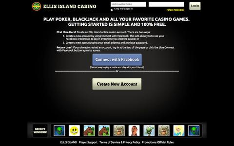 Screenshot of Login Page ellisislandcasino.com - Ellis Island - captured Oct. 2, 2014