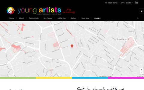 Screenshot of Contact Page youngartists.com.au - Contact Us | Young Artists Sydney - captured June 11, 2017