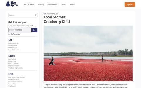 Screenshot of blueapron.com - Cranberry Chili | Blue Apron Blog - captured Nov. 3, 2016
