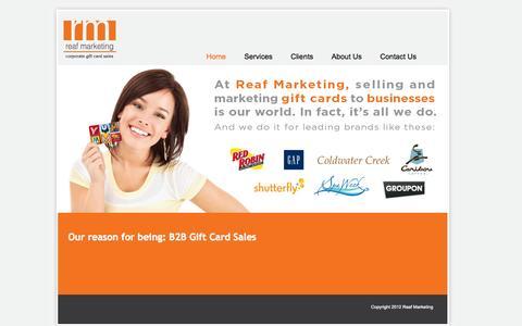 Screenshot of Home Page reafmarketing.com - Reaf Marketing, Gift Card Sales, Cincinnati OH - captured Oct. 6, 2014