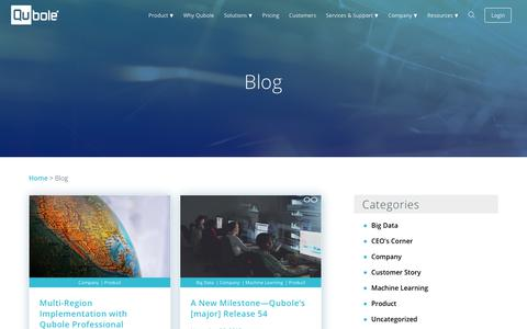 Screenshot of Blog qubole.com - Big Data Blog | Qubole - captured Nov. 30, 2018