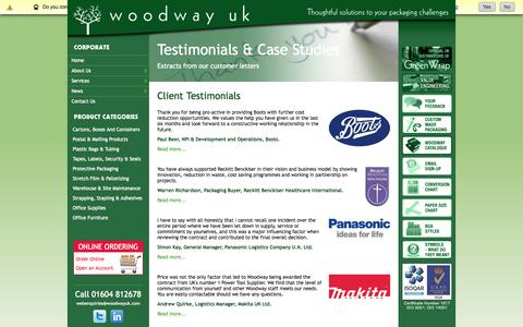 Screenshot of Testimonials Page woodwayuk.com - Woodway Customer Testimonials and Case Studies- Woodway UK - Supplying packaging, stationery and office furniture - Northampton. - captured Oct. 7, 2014