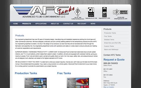 Screenshot of Products Page afctanks.com - Products - AFC Tanks - Production Tanks, Fracking Tanks, Frac, Skidded Tanks, and Shale Bin Manufacturing and Sales for Oilfield, Environmental, Waste and Construction - captured Oct. 4, 2014