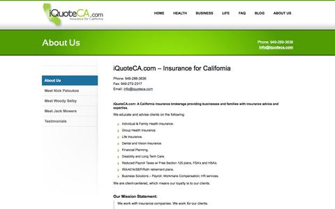Screenshot of About Page iquoteca.com - About us - Contact Information: iQuoteCA.com Insurance for California iQuoteCA.com - captured Oct. 6, 2014