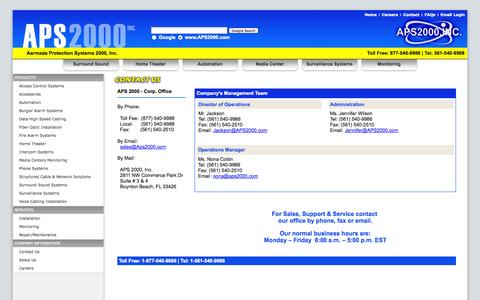 Screenshot of Contact Page aps2000.com - Contact Us - APS2000, Inc. - captured Oct. 4, 2014
