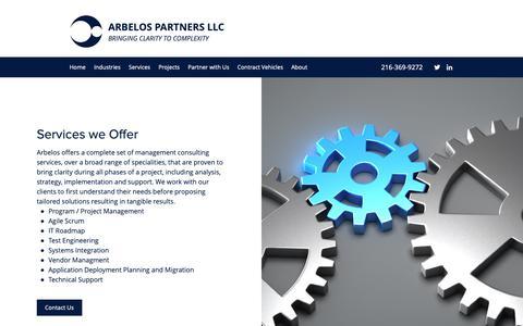 Screenshot of Services Page arbelospartners.com - Industries-served | OH | Arbelos Partners LLC - captured Oct. 4, 2018