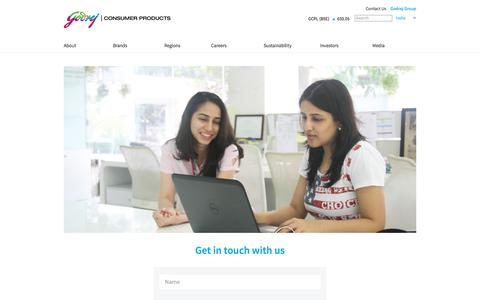 Screenshot of Contact Page godrejcp.com - Godrej   Consumer Products  - Contact Us - captured July 16, 2019
