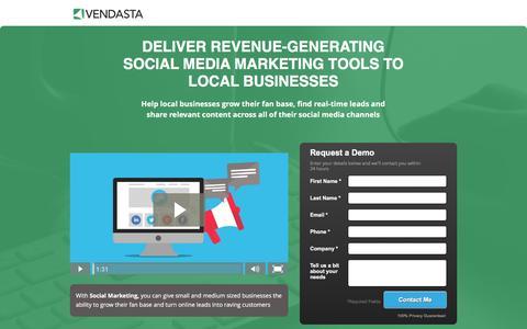 Screenshot of Landing Page vendasta.com - Vendatsa | Social Media Marketing Tools - captured March 25, 2016