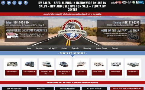 Screenshot of Home Page pedatarvcenter.com - RV Sales, RV Wholesalers & #1 RV Dealers (Used & New RVs for Sale) | Pedata RV Center - captured July 16, 2018
