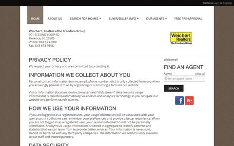 Screenshot of Privacy Page wrthefreedomgroup.com - Weichert Realtors The Freedom Group - captured Oct. 18, 2018