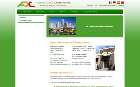 Screenshot of Locations Page applieddatacorp.com - Locations - captured Oct. 4, 2014