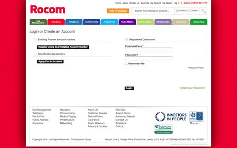 Screenshot of Login Page rocom.co.uk - Customer Login - captured Sept. 30, 2014