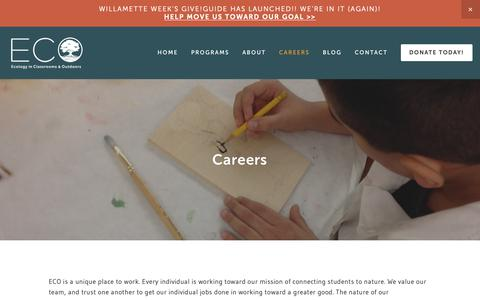 Screenshot of Jobs Page ecologyoutdoors.org - Careers — Ecology in Classrooms & Outdoors - captured Nov. 10, 2018