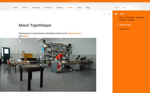 Screenshot of About Page typotheque.com - About Typotheque - captured Aug. 29, 2016