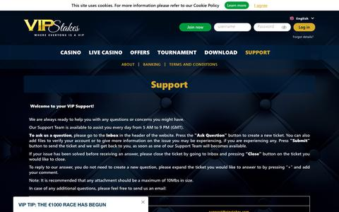 Screenshot of Contact Page Support Page vipstakes.com - VIP Stakes Support / VIP Rewards and Customer Service - captured Oct. 2, 2019