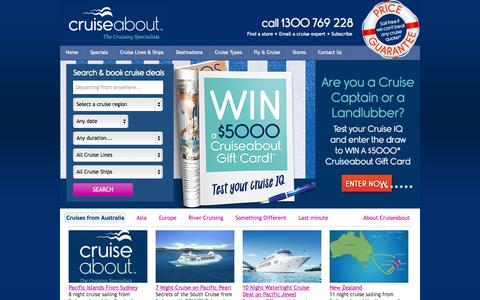Screenshot of Home Page cruiseabout.com.au - Cruises | Search Over 5000 Cruise Deals With Cruiseabout - captured Sept. 18, 2014