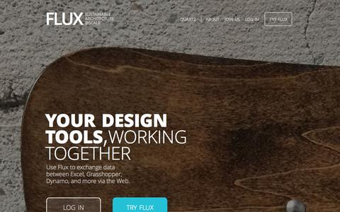 Screenshot of Home Page flux.io - FLUX • Sustainable Architecture @Scale - captured Sept. 25, 2015