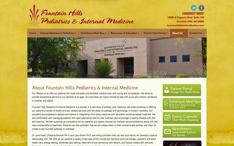 Screenshot of About Page fountainhillsdoctors.com - Fountain Hills Pediatrics and Internal Medicine |   About FHPIM - captured Oct. 2, 2014